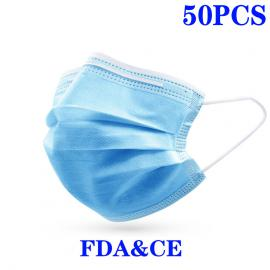 50pcs Face Mask Mouth Mask Civil Use Windproof Mouth-muffle  Flu Anti Dust Non Woven 3 Layer